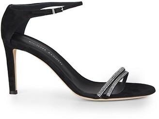 Giuseppe Zanotti Swarovski Crystal Ankle-Strap Suede Sandals