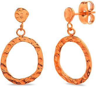 Bliss Women's Earrings Rose - Rose Goldtone Hammered Open Circle Drop Earrings
