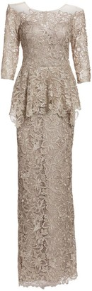Teri Jon By Rickie Freeman Peplum Lace Gown