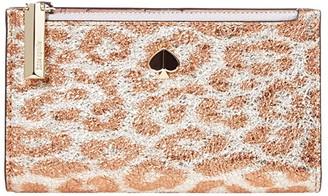 Kate Spade Metallic Leopard Small Slim Bifold Wallet (Silver Multi) Bill-fold Wallet