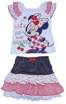 Disney Minnie Mouse Girls Ruffled Sleeve T Shirt and Tierd Skirt Outfit - Red White