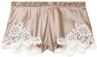 Carine Gilson Chantilly Lace-trimmed Silk-satin Shorts