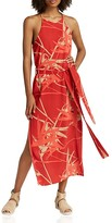 Halston Abstract-Print Belted Slip Dress