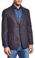 Isaia San Servo Check Two-Button Sport Coat, Brown/Blue