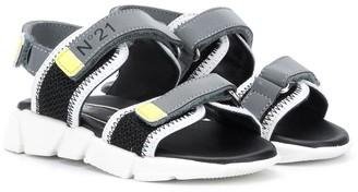 No21 Kids Touch Strap Logo Sandals