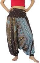 NaLuck Women's Boho Hippie Peacock baggy Jumpsuit Smocked Waist Yoga Harem Pants PH06