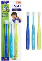Baby Buddy 360 Toothbrush Step 2 Stage 6 for Ages 2-12 Years, Kids Love Them, Royal-Teal-Lime, 3 Count