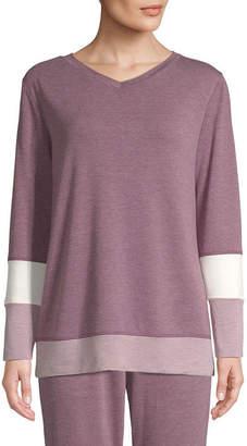 ST. JOHN'S BAY SJB ACTIVE Active Color Block-Womens V Neck Long Sleeve Top