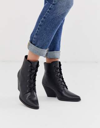 Qupid lace up western ankle boots-Black