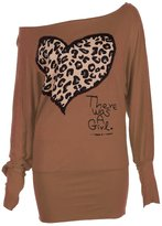 Forever Womens Long Sleeves on Off Shoulder Leopard Heart There Was a Girl Batwing Top