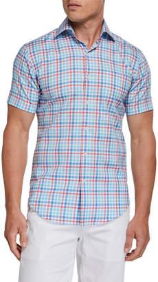 Peter Millar Men's Plaid Short-Sleeve Pocket Sport Shirt