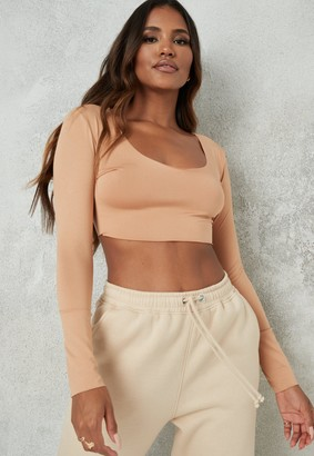 Missguided Camel Raw Edge Long Sleeve Crop Top