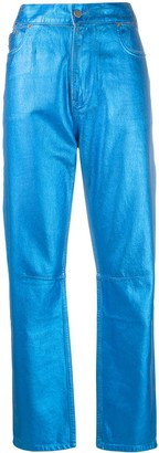 Mira Mikati Straight-Leg Metallic Trousers