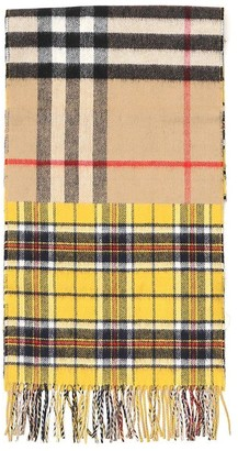 Burberry Contrast Check Fringed Scarf