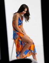 Liquorish cowl neck satin maxi dress with split