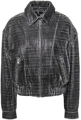 IRO Griez Cracked-leather Bomber Jacket