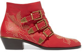 Chloé Susanna Studded Textured-leather Ankle Boots - IT34