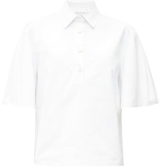 Carolina Herrera Wide-sleeve Cotton-canvas Shirt - Womens - White