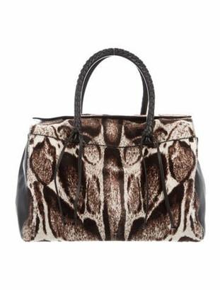 Elena Ghisellini Leather-Trimmed Ponyhair Handle Bag