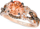 LeVian Le Vian Peach Morganite (1-3/8 ct. t.w.) and Diamond (5/8 ct. t.w.) Ring in 14k Rose Gold