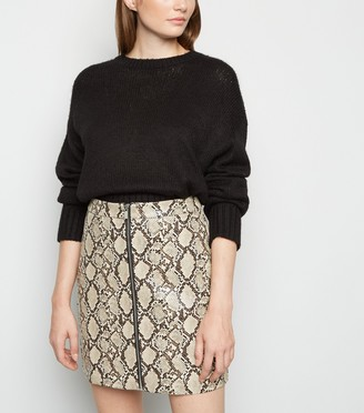 New Look Faux Snake Zip Mini Skirt