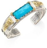 Konstantino Iliada Chrysocolla, Quartz Doublet, 18K Yellow Gold & Sterling Silver Cuff Bracelet