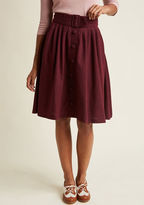 ModCloth Intern of Fate Midi Skirt in Burgundy in XXS