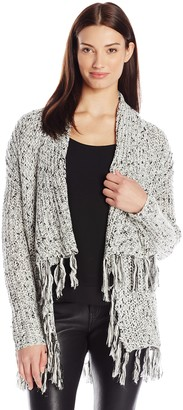 Chaus Women's Long Sleeve Blanket Cardigan with Fringe