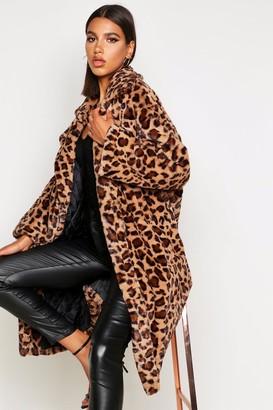 boohoo Oversized Leopard Faux Fur Coat