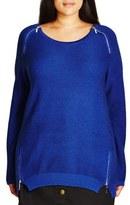 City Chic Zip Detail Crewneck Sweater (Plus Size)