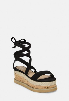 Missguided Black Faux Suede Lace Up Flatform Sandals