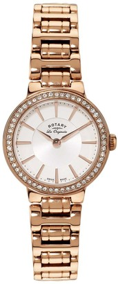 Rotary Women's Quartz Watch with White Dial Analogue Display and Rose Gold Plated Stainless Steel Bracelet LB90085/02