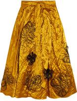 Roksanda Kalmar Embellished Crushed-satin Midi Skirt - Shiny gold