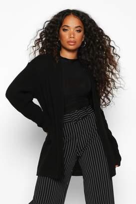 boohoo Petite Waffle Knit Shawl Collar Cardigan