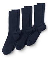 Classic Men's Seamless Toe Cotton Rib Dress Socks (3-pack)-Black
