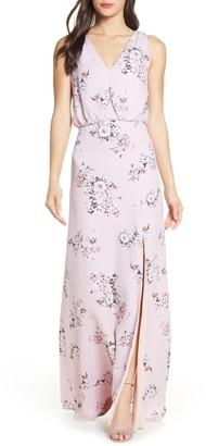 WAYF The Bella Floral V-Neck Slit Maxi Dress