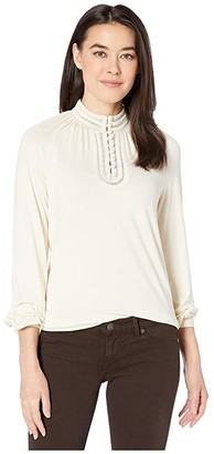 Lauren Ralph Lauren Petite Jersey Mock Neck Blouse (Mascarpone Cream) Women's Clothing