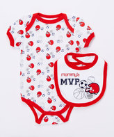 Buster Brown Chinese Red 'Mommy's MVP' Two-Piece Bodysuit & Bib