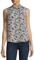 Rebecca Taylor Bijou Floral Textured Sleeveless Mock-Neck Top, Glacier Combo