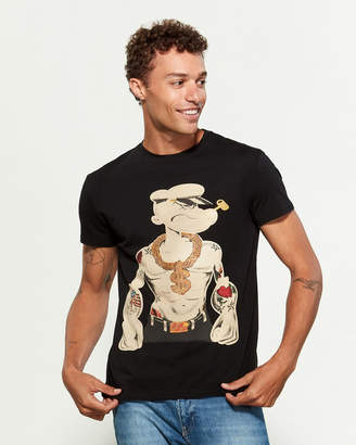 Heads Or Tails Popeye Rhinestone Short Sleeve Tee