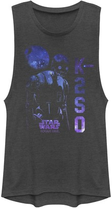 Star Wars Juniors' Rogue One K-2SO Galaxy Print Muscle Tee