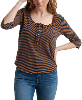 Lucky Brand Cotton Striped Henley Top