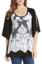 Karen Kane Women's Lace Overlay Split Sleeve Top