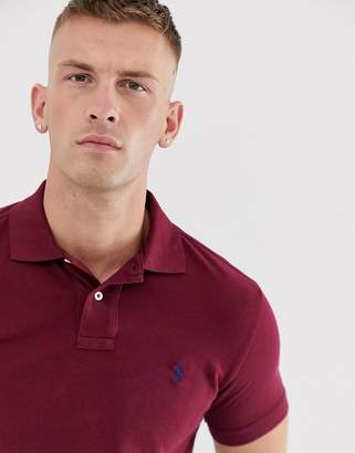 Polo Ralph Lauren pique polo custom regular fit player logo in burgundy-Red