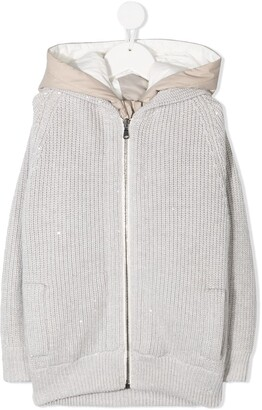 BRUNELLO CUCINELLI KIDS Hooded Ribbed-Knit Coat