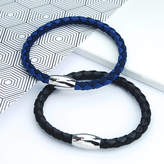 Penelopetom Men's Leather And Cord Mix Bracelet With Polished Clasp