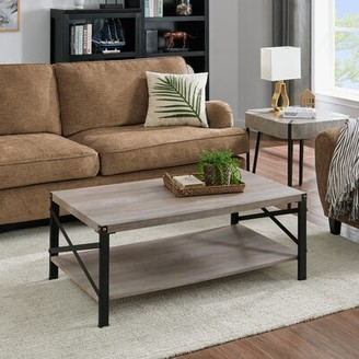 Union Rustic Roesch Cross Legs Coffee Table with Storage Table Top Color: Gray