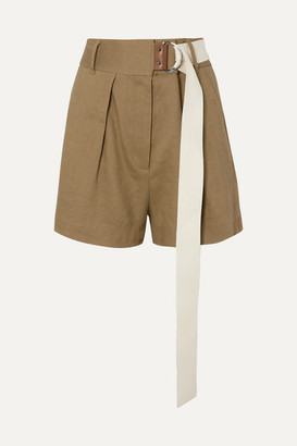 Tibi Pleated Belted Linen-blend Twill Shorts - Army green