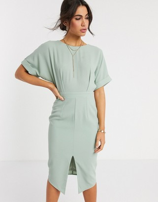 ASOS DESIGN wiggle midi dress in sage green