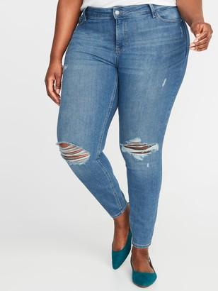 Old Navy High-Waisted Secret-Slim Pockets Distressed Rockstar Plus-Size Super Skinny Jeans